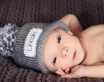 Monogram baby boy winter hat, Baby Boy hat, Personalized hat, knit baby hat, Newborn, baby girl hat, baby, baby shower, new baby, Preemie