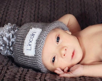 Knit Baby Hat, Preemie hat, Baby boy hat, baby girls hat, personalized, monogram hat, winter hat, Free monogrammed name, Preemie/24 Months
