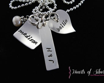 Hand Stamped Mommy Jewelry- Sterling Silver Charm Necklace- Family Necklace