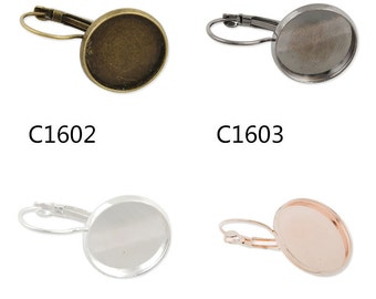 50PCS French Lever Back Earring Blank,brass filled,fit 20MM round cabochons,buttons -C1602-3143