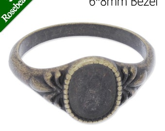 SALE-50PCS 6x8mm Oval Shallow bottom Antique Bronze Ring Base Setting,fit 6x8mm oval cabochons,ring blanks C3884