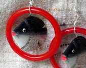 """Fish earrings extra large dangles red and black with red glass """"fishbowl"""" super fun and unique on a nickle free wire"""