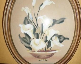 Calla LILIES/WOOD OVAL Frame/Vintage/Print/Mid Century