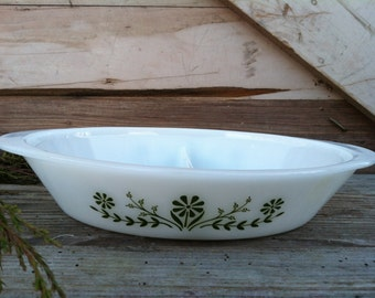 Mid Century White Milk Glass Baking Dish - Vintage Retro Divided Baking Dish, White + Green Serving Ware, Glasbake Divided Serving Dishware
