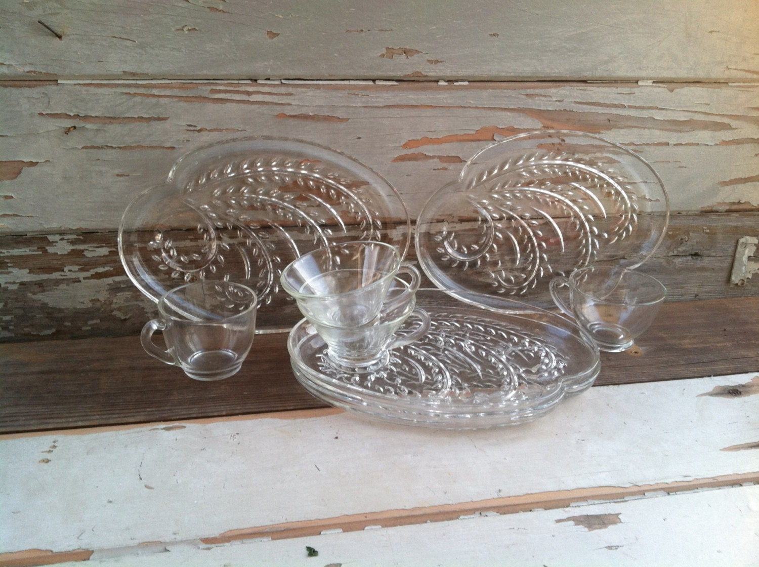 Vintage clear glass snack plate set homestead tray or