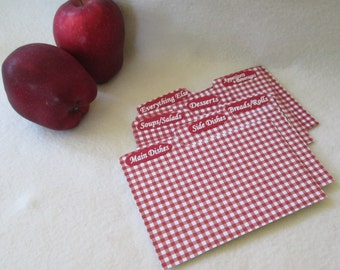 Recipe Box  Dividers - Index Dividers -  Red Gingham