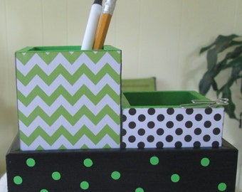 Desk organizer - desk set - small - pencil cup holder set - green chevron - black polka dot - gift
