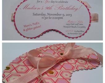 Spa Mask Slumber Party Custom Party Invitation Birthday Shower