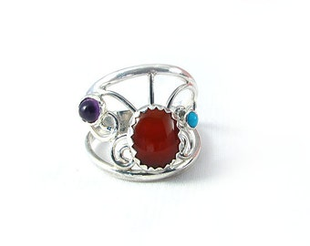 Handmade Sterling Carnelian, Turquoise and Amethyst Ring size 7.5 wide  multi stone ring