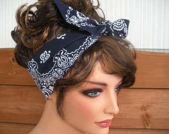 Womens Headband Dolly Bow Headband Summer Fashion Accessories Women Headband Headscarf in Navy Blue Bandana- Choose color