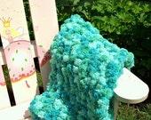Baby Photography Prop Pom Pom Blanket BLUE GREEN