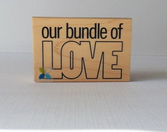 Our Bundle of Love Wooden Mounted Rubber Stamping Block DIY scrapbooking, tags, Invitations, and Greeting Cards