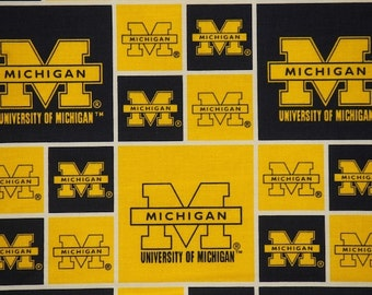 NCAA Michigan Blue Wolverines 100% Cotton V2 Fabric by the yard
