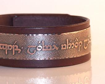 Tengwar, Elvish - Live without regrets, love without limits, live with no regrets love with no limits  - Mens leather bracelet