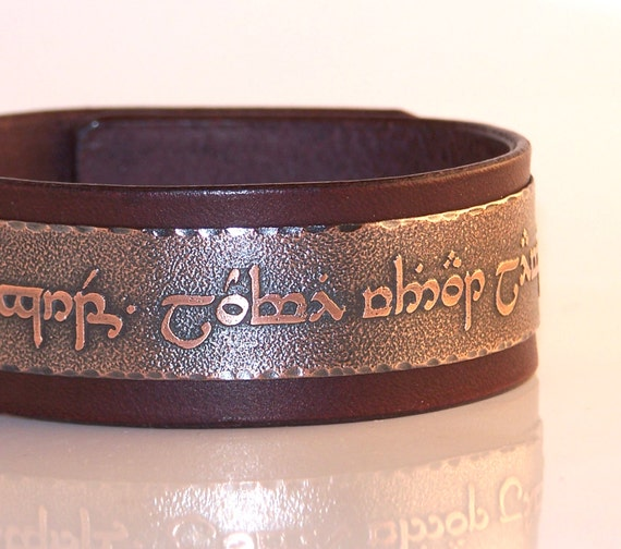 Tengwar, Elvish - Live without regrets, love without limits, live with no regrets love with no limits  - Mens leather bracelet