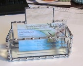 Stained Glass Business Card Vessel - Bevel Glass with Decorative Soldering - Office Gift