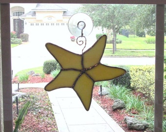 Starfish in Yellow and White Swirled Opalescent Glass -  Authentic Stained Glass