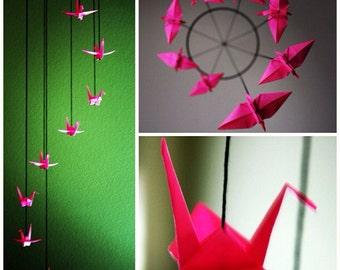 Hot Pink Spiral Origami Crane Mobile