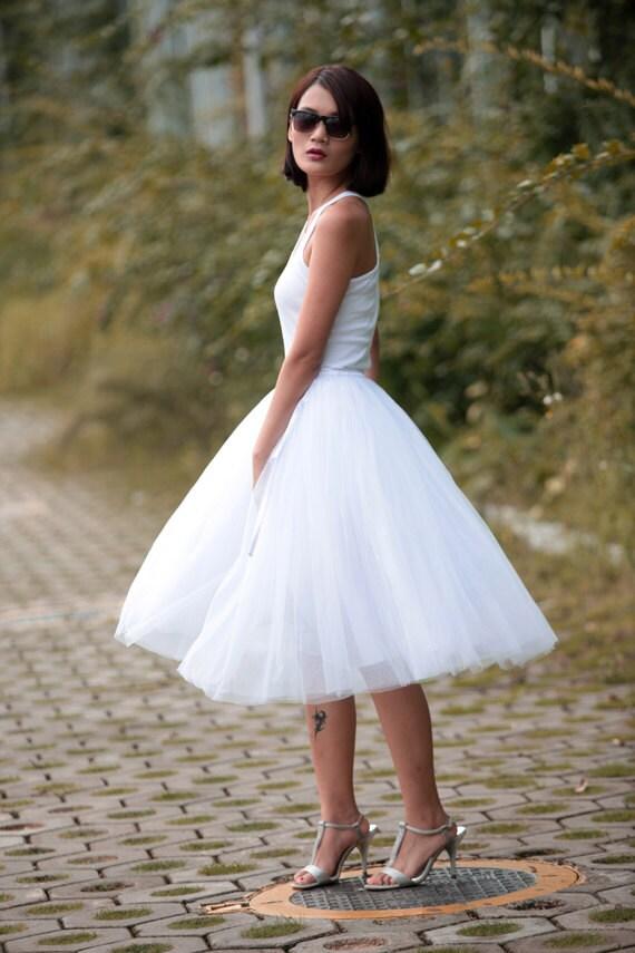 Tulle skirt tea length tutu skirt knee length by for Tea length wedding dress tulle skirt