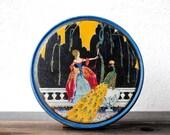 Art Deco Nouveau Tin Candy Box, Victorian Lady & Peacock, Antique Canco Deco Metalware Collectible Decor