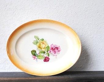 Antique China Platter, Yellow Red Pink Roses, Peach Lusterware Trim, Vintage Dinnerware Whiteware 1920s
