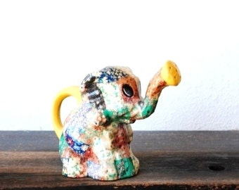 Vintage Elephant Figurine Watering Can, Trunk Up Colorful Patchwork Collectible Nursery Decor