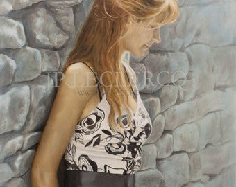 Introversion : Original oil figure painting,  woman leaning against a stone wall