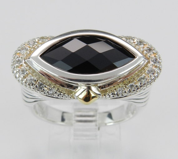 Marquise Onyx White Sapphire Ladies Ring Sterling Silver 18K Yellow Gold Size 7