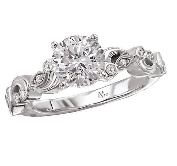 14KT White Gold Diamond Engagement Ring Setting Semi-Mount Waves of Love