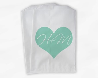 Initials in Heart Candy Buffet Bags in Mint - Custom Personalized Favor Bags for Wedding, Birthday, Shower - Paper Treat Bags (0055)