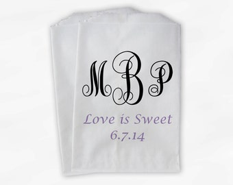 Monogrammed Candy Buffet Bags - Love is Sweet Custom Favor Bags Personalized Couple's Initials - Paper Treat Bags (0062)