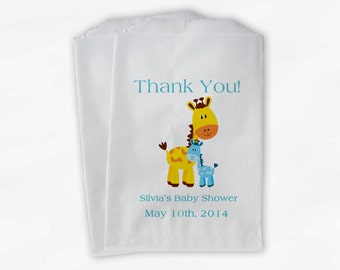 Personalized Giraffe Baby Shower Favor Bags - Boy or Girl Custom Treat Bags for Baby Shower - 25 Paper Bags (0024)