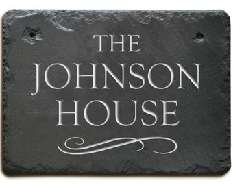 SLATE NAME Plaque / House Marker  Sign / Carved Stone /  Personalized / Gift  #MA-3SB