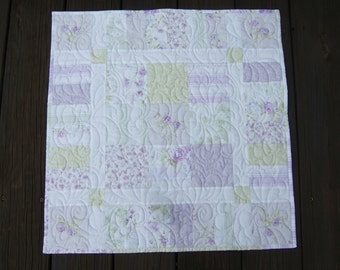 Shabby Chic Pastel Table Topper in Lavender and Green