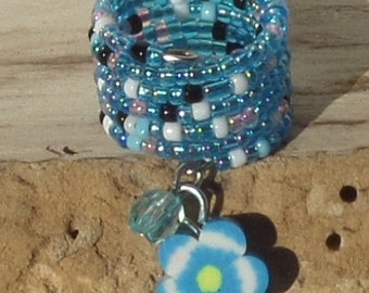 Memory Wire, beaded ring, adjustable ring, Blue Hawaiian Flower wire wrap ring  MR0016