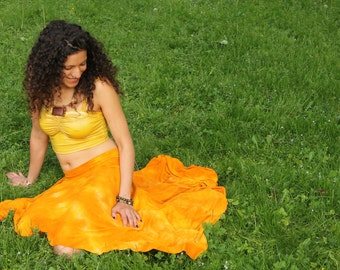 Bamboo and organic pixie skirt asymmetric jersey hand dyed in marigold