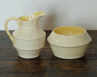 SALE Vintage Belleek Sugar and Creamer Set in Cleary Basket Weave Pattern No. 0857