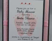 Handcrafted Baby Shower Card, Invitation