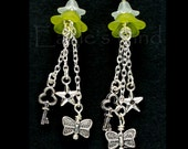 Charm Flower Earrings - Lily Flower - Acrylic, Glinter and pewter