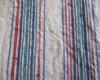 Vintage handwoven Chinese indigo dyed stripe cotton fabric