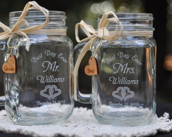 Wedding Mason Jar Table Setting Double Hearts Best Day Ever Choose Handle Directions