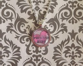 I'm daddy's air princess and he's my hero glass pendant necklace with a 24 inch link chain in silver