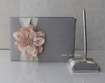 wedding gues tbook/ sign in book and pen set