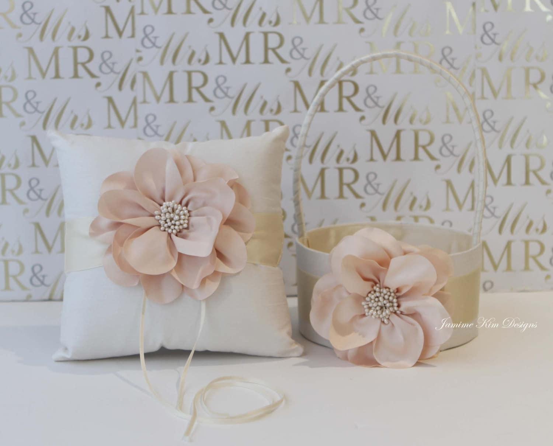 Flower Girl Baskets And Ring Pillows : Ring bearer pillow flower girl basket custom made to