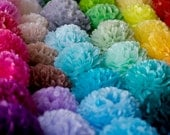 60 mixed size tissue  paper Pom poms - custom color set - wedding party decorations