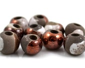 6 Mykonos Raku - 8mm Round - Harlequin Glaze - Greek Ceramic Raku Beads