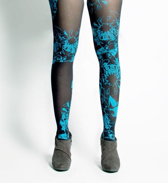 Blue geometric patterned tights. hand printed silk-screen print. Screen printing.