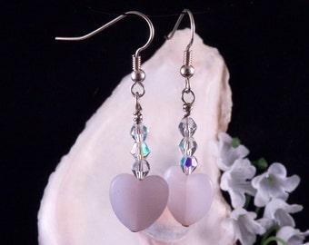 Pink Earrings - Pink Heart Earrings - Crystal Earrings - Pink Dangling Earrings - Handmade Costume Jewelry - Free Shipping - Made in USA