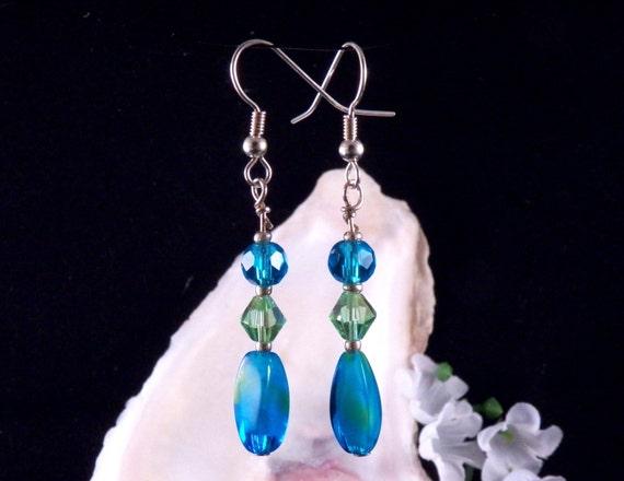 Blue Earrings - Green Earrings - Glass Beaded Earrings - Blue Dangling Earrings - Blue Handmade Costume Jewelry - Made in USA Free Shipping