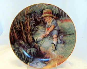 JUST FISHIN', one of the Fond Memories plate collection by M.M. Grimball 1988 Hamilton Collection